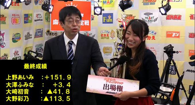 第9期麻雀女王に上野あいみ 第9期夕刊フジ杯個人決勝