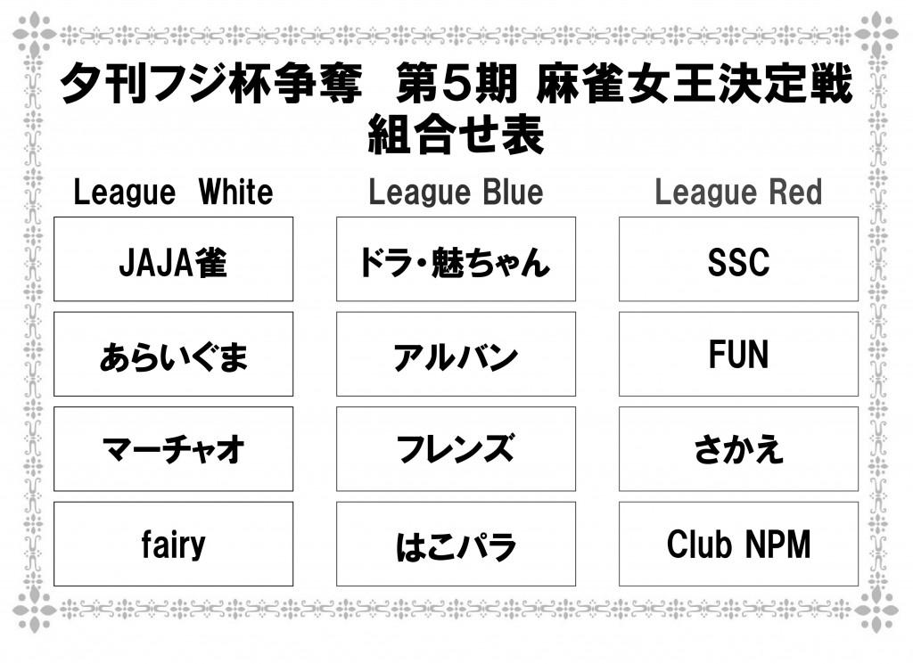 第5期 夕刊フジ杯 麻雀女王決定戦 チーム紹介(League Blue)