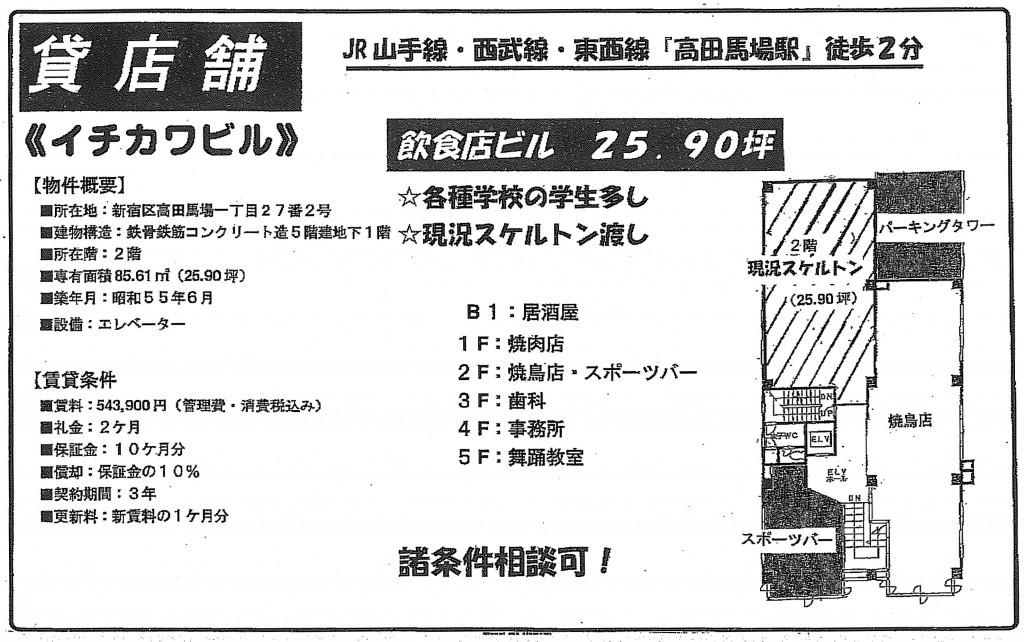 【麻雀店物件情報】高田馬場駅徒歩2分 54.39万円【スケルトン】