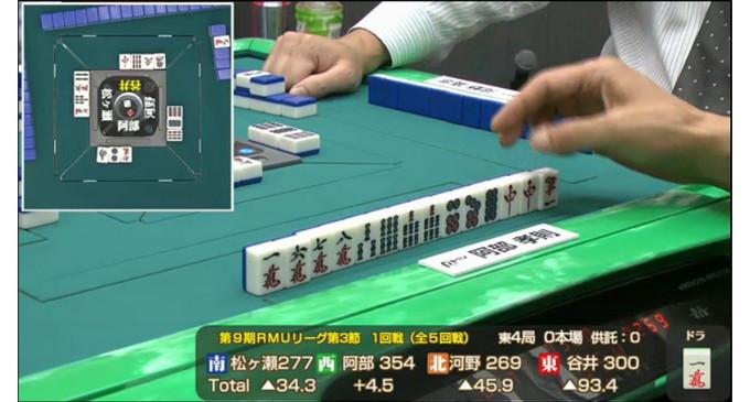 RMUリーグ第3節、高打点を狙った阿部孝則プロの鋭い手組!